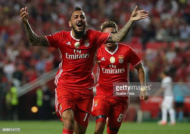 Benfica's forward from Greece Kostas Mitroglou celebrates after scoring a goal during the Primeira Liga match between SL Benfica and SC Braga at...