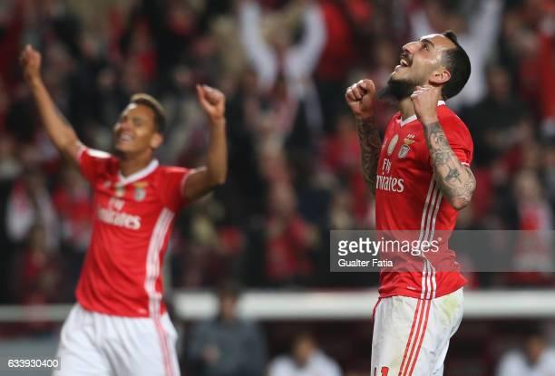 Benfica's forward from Greece Kostas Mitroglou celebrates after scoring a goal during the Primeira Liga match between SL Benfica and CD Nacional at...