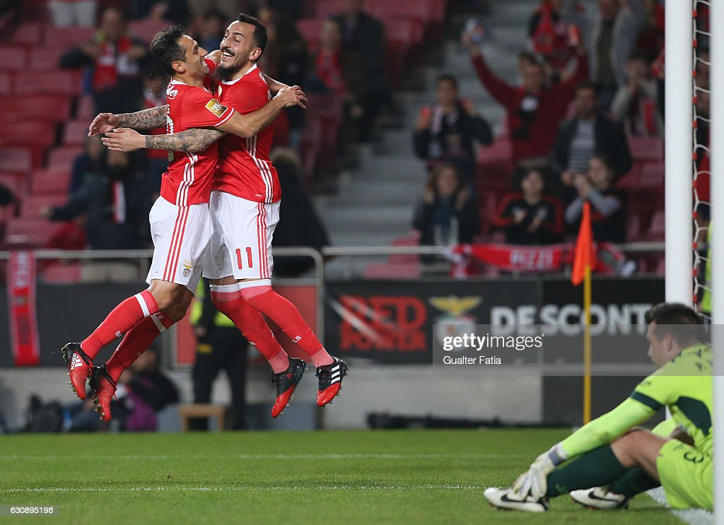 SL Benfica's forward from Greece Kostas Mitroglou celebrates with teammate SL Benfica's forward from Brazil Jonas after scoring a goal during the Primeira Liga match between SL Benfica and FC Vizela at Estadio da Luz on January 3, 2017 in Lisbon, Portugal.