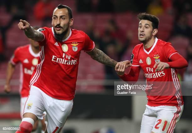 BenficaÕs forward from Greece Kostas Mitroglou celebrates with teammate SL BenficaÕs midfielder Pizzi after scoring a goal during the Primeira Liga...