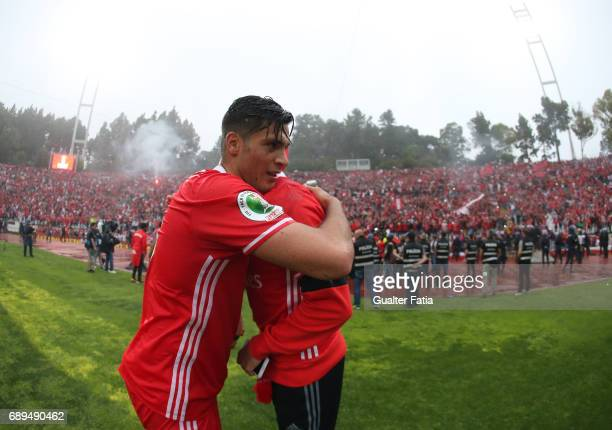 Benfica's forward from Mexico Raul Jimenez and SL Benfica's midfielder from Serbia Ljubomir Fejsa celebrate winning the Portuguese Cup Title at the...