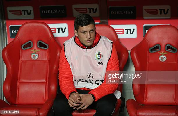Benfica's forward from Serbia Luka Jovic before the start of the Primeira Liga match between SL Benfica and FC Vizela at Estadio da Luz on January 3...