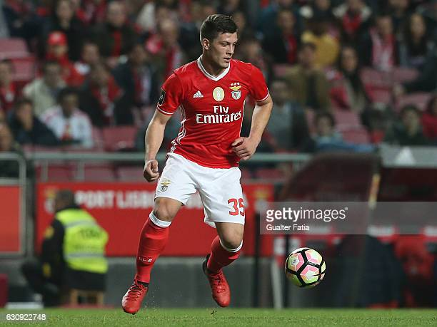 Benfica's forward from Serbia Luka Jovic in action during the Primeira Liga match between SL Benfica and FC Vizela at Estadio da Luz on January 3...