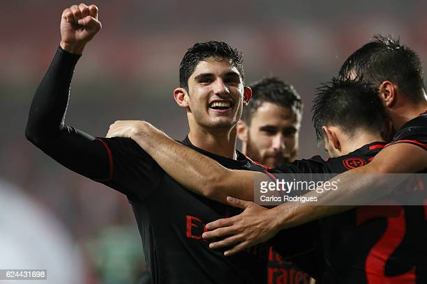 Benfica's forward Goncalo Guedes from Portugal celebrates scoring Benfica sixth goal with his team mates during the SL Benfica v CS Maritimo...