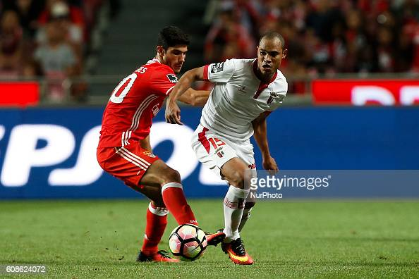 Benfica's forward Goncalo Guedes vies for the ball with Braga's defender Baiano during Premier League 2016/17 match between SL Benfica v SC Braga in...