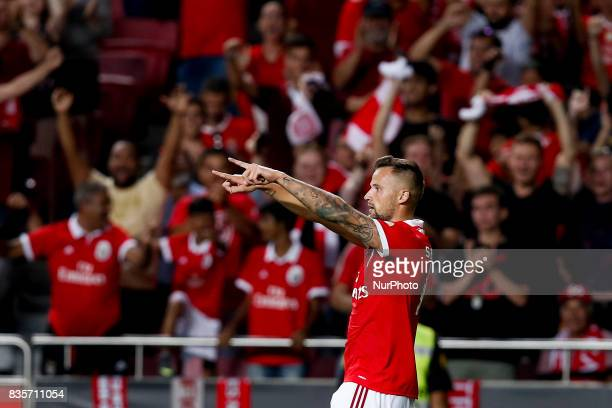 Benfica's forward Haris Seferovic celebrates his goal during Premier League 2017/18 match between SL Benfica vs CF Belenenses in Lisbon on August 19...