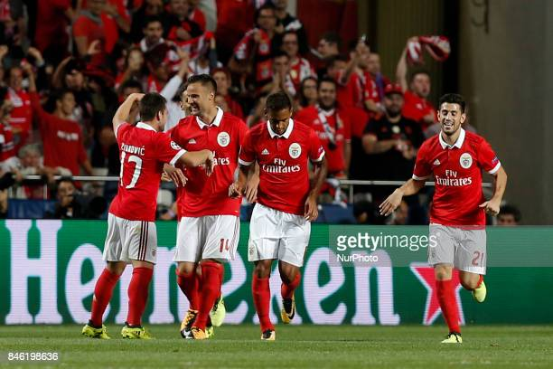 Benfica's forward Haris Seferovic celebrates his goal with his teammates during Champions League 2017/18 match between SL Benfica vs CSKA Moscow in...
