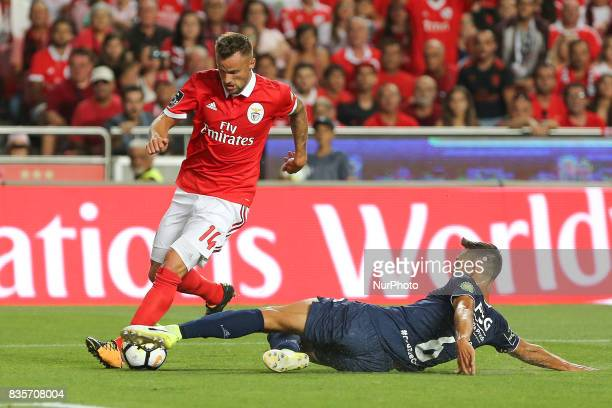 Benficas forward Haris Seferovic from Switzerland and CF Os Belenenses defender Vincent Sasso from France during the Premier League 2017/18 match...