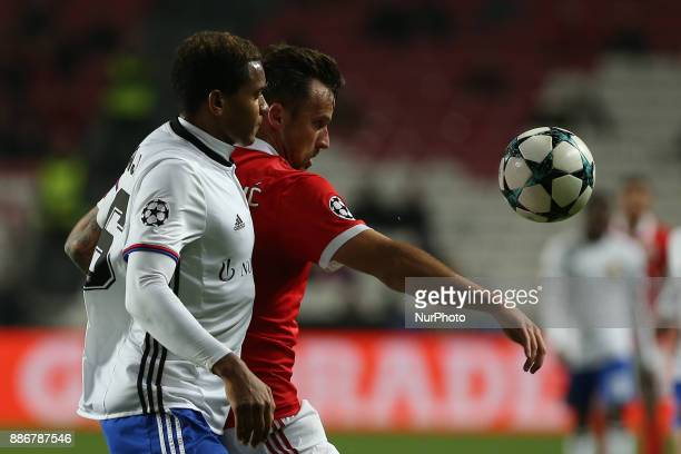 Benficas forward Haris Seferovic from Switzerland and Fc Basel defender Manuel Akanji from Switzerland during the match between SL Benfica v FC Basel...