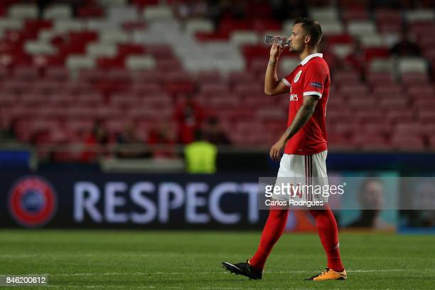 Benfica's forward Haris Seferovic from Switzerland at the end of the SL Benfica v CSKA Moskva UEFA Champions League round one match at Estadio da Luz...