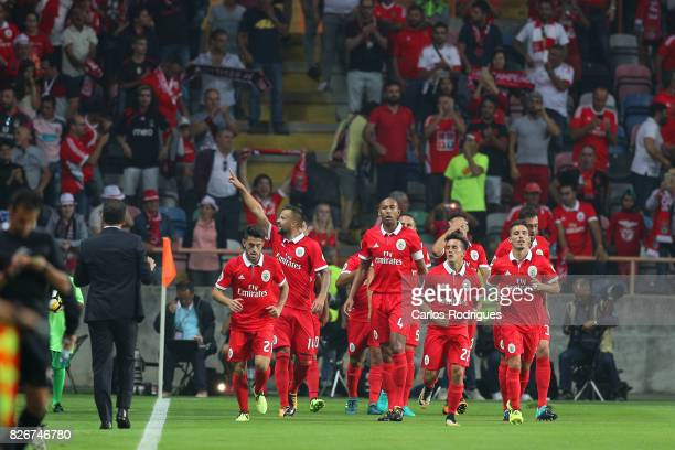 Benfica's forward Haris Seferovic from Switzerland celebrates scoring Benfica second goal with his team mate during the match between SL Benfica and...