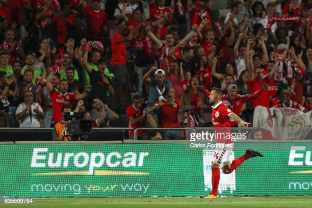 Benfica's forward Haris Seferovic from Switzerland celebrates scoring Benfica third goal during the match between SL Benfica and CF Belenenses for...