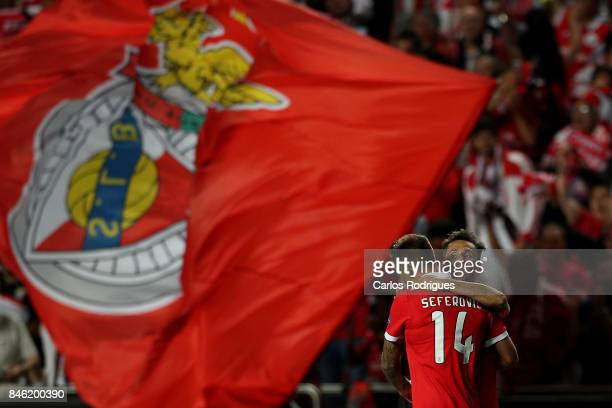 Benfica's forward Haris Seferovic from Switzerland celebrates scoring Benfica goal with Benfica's forward Jonas from Brasil during SL Benfica v CSKA...