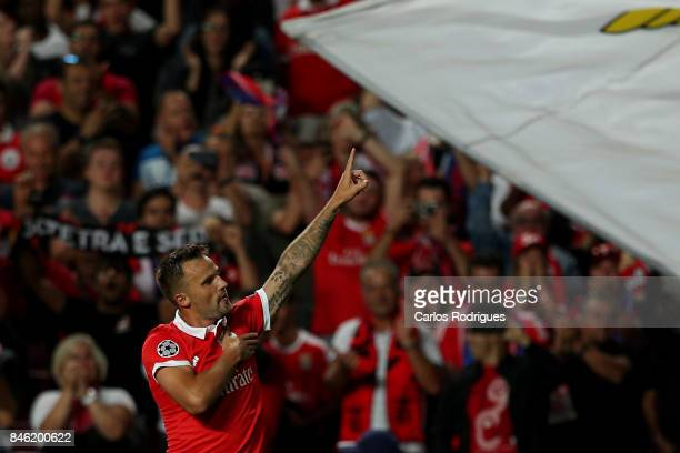 Benfica's forward Haris Seferovic from Switzerland celebrates scoring Benfica goal during SL Benfica v CSKA Moskva UEFA Champions League round one...