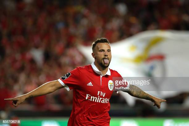 Benficas forward Haris Seferovic from Switzerland celebrating after scoring a goal during the Premier League 2017/18 match between SL Benfica v CF...