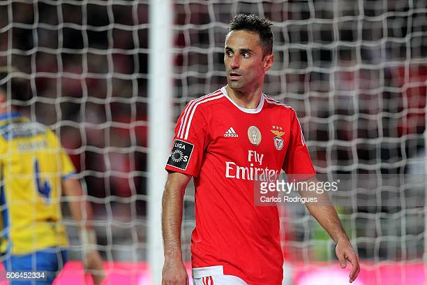 Benfica's forward Jonas after scoring Benfica«s third goal during the match between SL Benfica and FC Arouca at Estadio da Luz on January 23 2016 in...