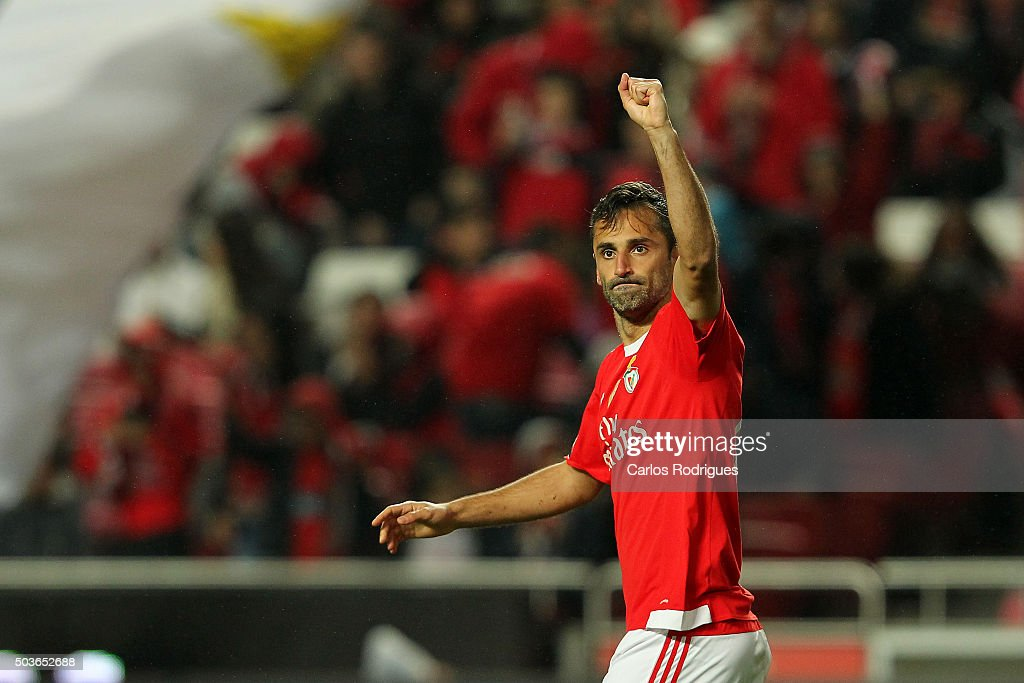 Benfica's forward Jonas celebrates scoring Benfica«s fourth goal during the match between SL Benfica and CS Maritimo at Estadio da Luz on January 6, 2015 in Lisbon, Portugal.