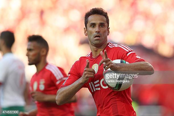 Benfica's forward Jonas celebrates scoring Benfica's goal during the Primeira Liga match between Benfica and Maritimo at Estadio da Luz on May 23...