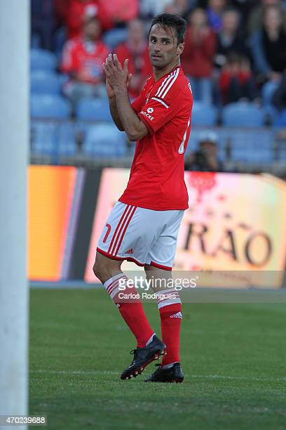 Benfica's forward Jonas celebrates scoring Benfica«s second goal during the Primeira Liga match between Belenenses and Benfica at Estadio do Restelo...