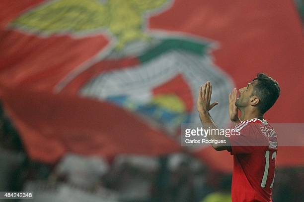 Benfica's forward Jonas celebrates scoring Benfica«s second goal during the match between SL Benfica and Estoril Praia at Estadio da Luz on August 16...