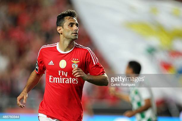 Benfica's forward Jonas celebrating scoring Benfica«s third goal during the match between SL Benfica and Moreirense FC at Estadio da Luz on August 29...