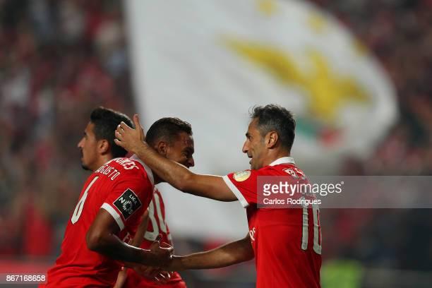 Benfica's forward Jonas from Brasil celebrates scoring Benfica first goal with Benfica's midfielder Filipe Augusto from Brasil during the match...