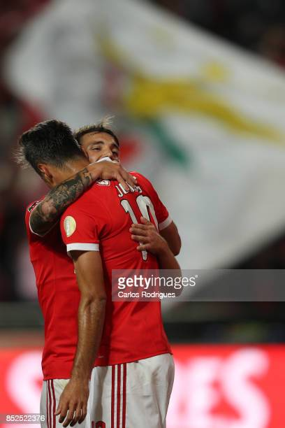 Benfica's forward Jonas from Brasil celebrates scoring Benfica second goal with Benfica's defender Alejandro Grimaldo from Spain during the match...