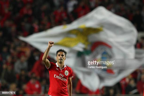 Benfica's forward Jonas from Brasil celebrates scoring Benfica second goal during the match between SL Benfica and Estoril Praia SAD for the...