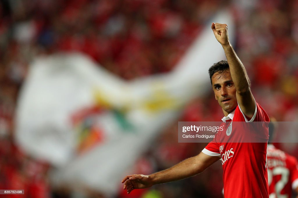 Benfica's forward Jonas from Brasil celebrates scoring Benfica's fifth goal during the match between SL Benfica and CF Belenenses for the third round of the Portuguese Primeira Liga at Estadio da Luz on August 19, 2017 in Lisbon, Portugal.