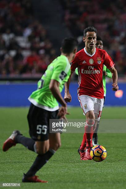 Benficas forward Jonas from Brazil and Rio Aves defender Rafa Soares from Portugal during the Premier League 2016/17 match between SL Benfica v Rio...