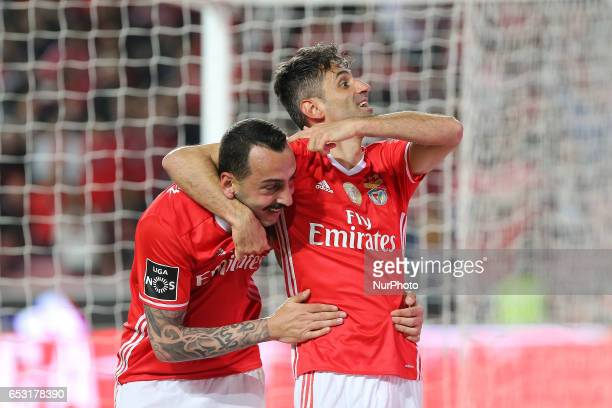 Benficas forward Jonas from Brazil celebrating with Benficas forward Kostas Mitroglou from Greece after scoring a goal during the Premier League...