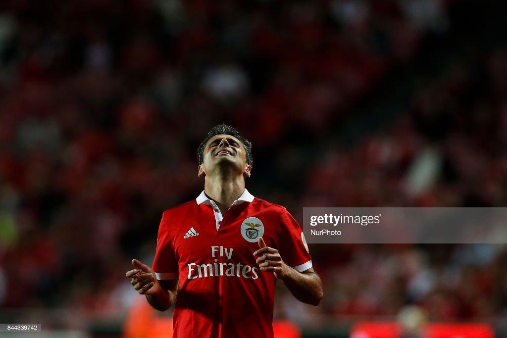 Benfica's forward Jonas reacts during Primeira Liga 2017/18 match between SL Benfica vs Portimonense SC, in Lisbon, on September 8, 2017.