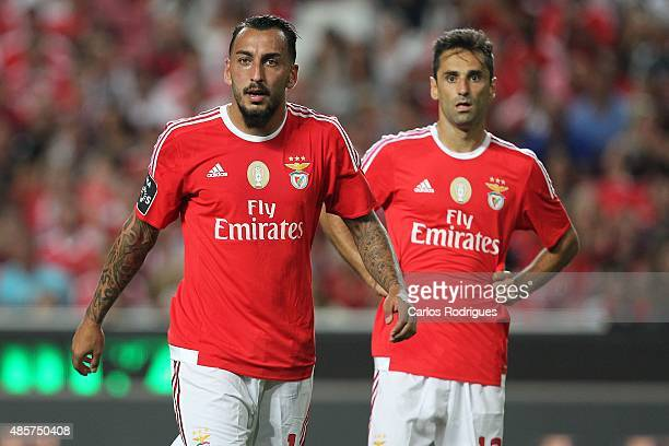 Benfica's forward Kostas Mitroglou and Benfica's forward Jonas during the match between SL Benfica and Moreirense FC at Estadio da Luz on August 29...