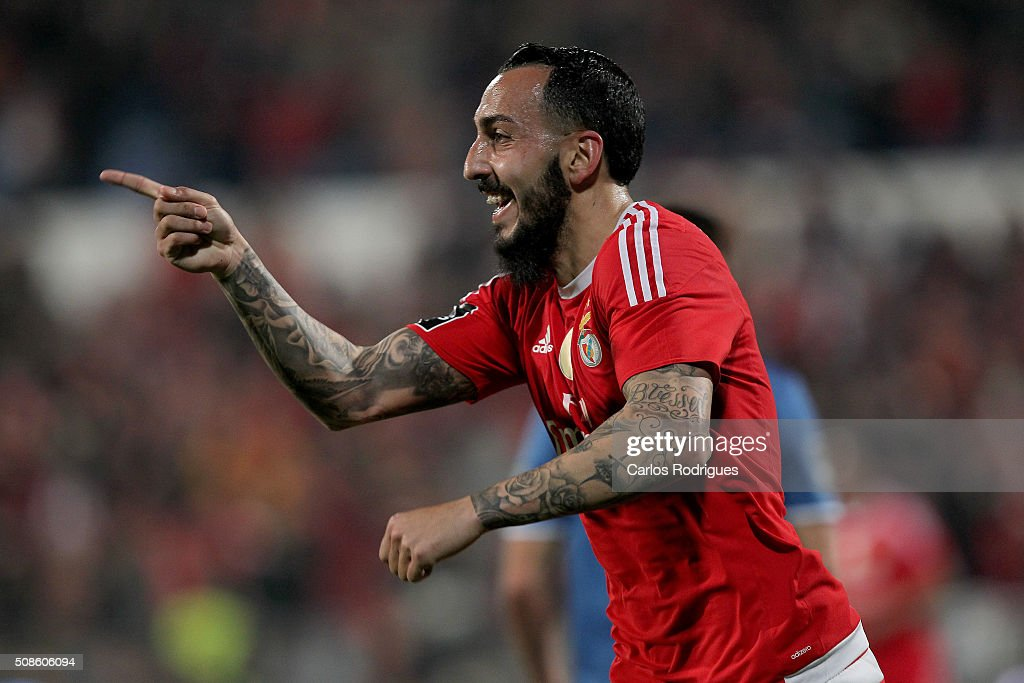 Benfica's forward Kostas Mitroglou celebrates scoring Benfica's goal during the match between Os Belenenses and SL Benfica at Estadio do Restelo on February 05, 2016 in Lisbon, Portugal.