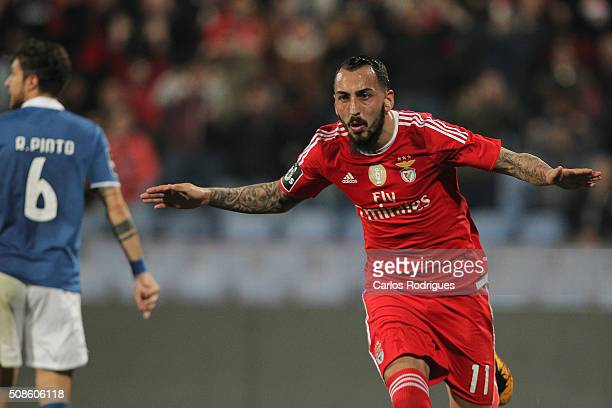 Benfica's forward Kostas Mitroglou celebrates scoring Benfica's goal during the match between Os Belenenses and SL Benfica at Estadio do Restelo on...