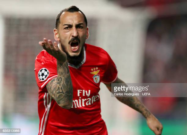 Benfica's forward Kostas Mitroglou from Greece celebrates Benfica goal during SL Benfica v Borussia Dortmund UEFA Champions League Round of 16 First...