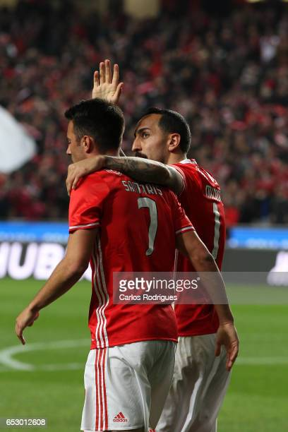 Benfica's forward Kostas Mitroglou from Greece celebrates scoring Benfica second goal with Andreas Samaris during the match between SL Benfica and CF...