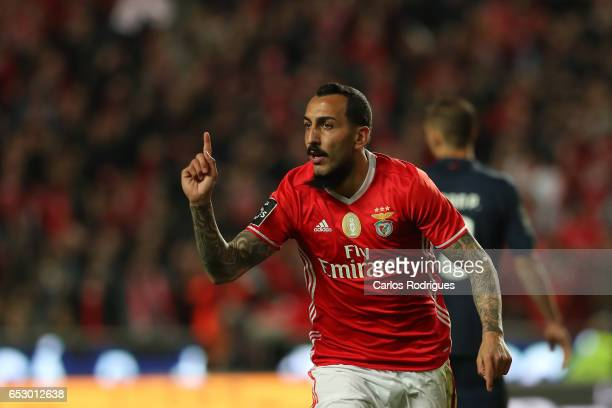 Benfica's forward Kostas Mitroglou from Greece celebrates scoring Benfica second goal during the match between SL Benfica and CF Os Belenenses for...