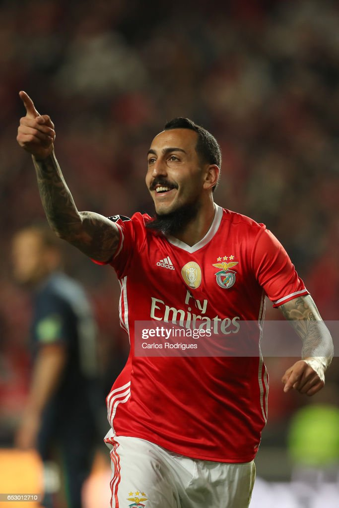 Benfica's forward Kostas Mitroglou from Greece celebrates scoring Benfica second goal during the match between SL Benfica and CF Os Belenenses for the Portuguese Primeira Liga at Estadio da Luz on March 13, 2017 in Lisbon, Portugal.