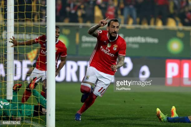 Benficas forward Kostas Mitroglou from Greece celebrating after scoring a goal during Portuguese Cup match between Estoril PS v SL Benfica at Estadio...
