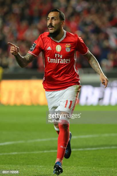 Benficas forward Kostas Mitroglou from Greece celebrating after scoring a goal during the Premier League 2016/17 match between SL Benfica v Os...