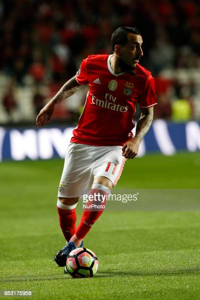 Benfica's forward Kostas Mitroglou in action during Premier League 2016/17 match between SL Benfica vs CF Belenenses in Lisbon on March 13 2017