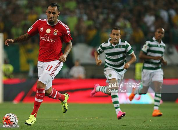 Benfica's forward Kostas Mitroglou in action during the Portuguese Super Cup match between SL Benfica and Sporting CP at Estadio Algarve on August 9...