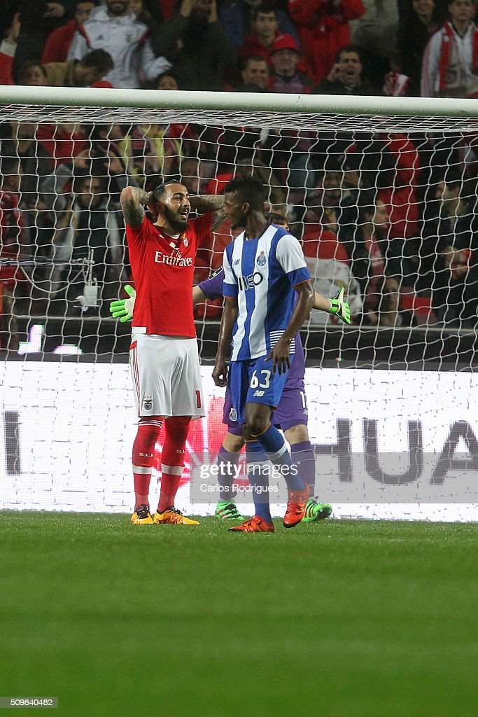 Benfica's forward <a gi-track='captionPersonalityLinkClicked' href=/galleries/search?phrase=Kostas+Mitroglou&family=editorial&specificpeople=2203870 ng-click='$event.stopPropagation()'>Kostas Mitroglou</a> reacts during the match between SL Benfica and FC Porto for the portuguese Primeira Liga at Estadio da Luz on February 12, 2016 in Lisbon, Portugal.