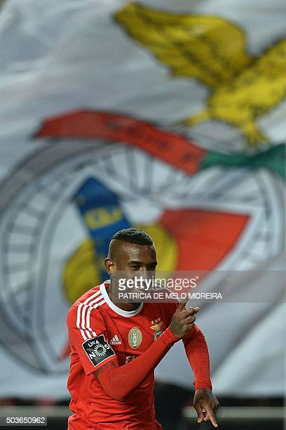 Benfica's forward Luis Fernandes 'Pizzi' celebrates after scoring during the Portuguese league football match Benfica vs CS Maritimo at Luz stadium...