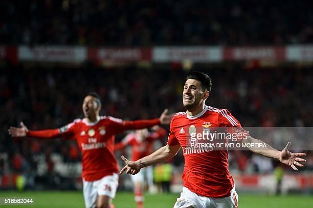 Benfica's forward Luis Fernandes 'Pizzi' celebrates after scoring against SC Braga during the Portuguese Liga football match Benfica vs SC Braga at...