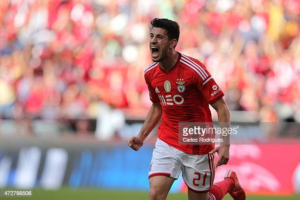 Benfica's forward Pizzi celebrates scoring Benfica's third goal during the Primeira Liga match between SL Benfica and Penafiel FC at Estadio da Luz...