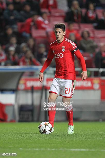 Benfica's forward Pizzi during the UEFA Champions League match between SL Benfica and Bayer 04 Leverkusen at the Estadio da Luz on December 9 2014 in...