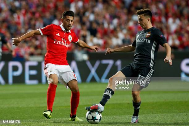 Benfica's forward Pizzi vies for the ball with CSKA's midfielder Aleksandr Golovin during Champions League 2017/18 match between SL Benfica vs CSKA...