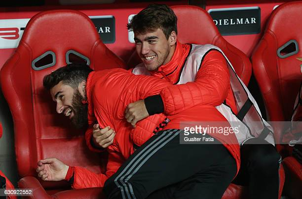 Benfica's forward Rafa Silva and SL Benfica's midfielder Andre Horta joking before the start of the Primeira Liga match between SL Benfica and FC...